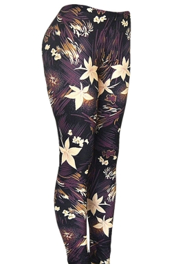 Womens Beautiful Lilies 3D Digital Print High Elastic Leggings Black