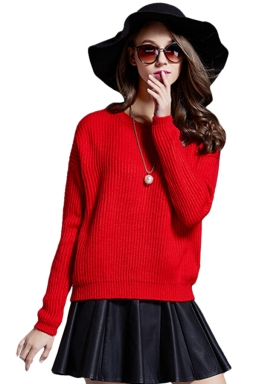 Womens Plain Round Neck Long Sleeve Knit Pullover Sweater Red