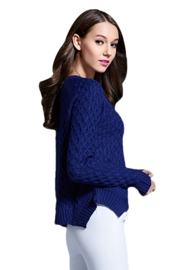 Womens Plain Round Neck Asymmetric Cable Knit Pullover Sweater Blue