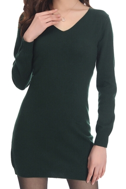 Womens Plain V Neck Medium-long Cashmere Pullover Sweater Deep Green