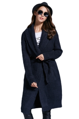 Womens Turndown Collar Long Sleeve Sash Knit Cardigan Black