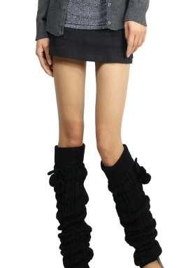 Womens Cable Knit Over Knee Fuzzy Ball Decor Long Stockings Black