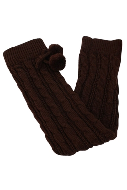 Womens Cable Knit Over Knee Fuzzy Ball Decor Long Stockings Coffee