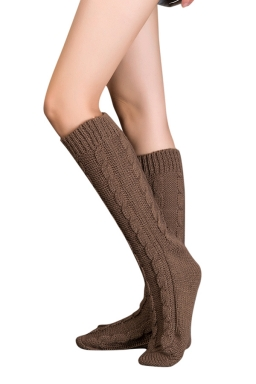 Womens Thick Warm Cable Knit Medium-long Floor Stockings Brown