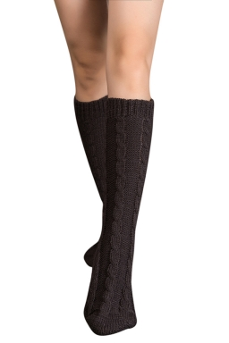 Womens Thick Warm Cable Knit Medium-long Floor Stockings Dark Gray