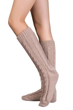 Womens Thick Warm Cable Knit Medium-long Floor Stockings Khaki
