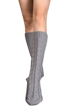 Womens Thick Warm Cable Knit Medium-long Floor Stockings Light Gray