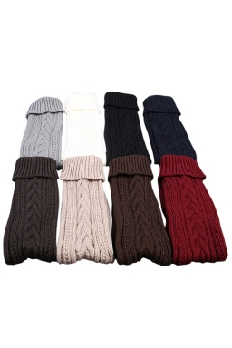 Womens Thick Warm Cable Knit Overknee Floor Stockings Black