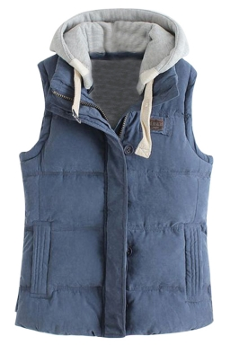 Womens Stylish Detachable Hooded Zipper Quilted Vest Navy Blue