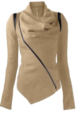 Womens Long Sleeve Zipper PU Leather Spliced Woolen Coat Khaki