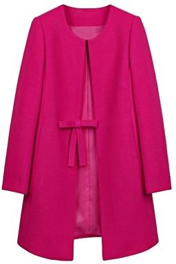 Womens Plain Long Sleeve Double Pockets Bow Decor Woolen Coat Rose Red