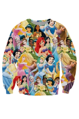 Womens Crewneck Disney Princess Printed Sweatshirt Yellow