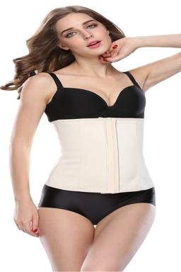 Womens 9 Steel Bone Glossy Waist Training Corset Beige White