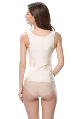 Womens Wide Straps Glossy Waist Training Corset Beige White