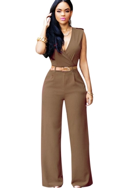 Womens Plain Deep V Neck Sleeveless High Waist Wide Leg Jumpsuit Khaki