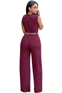 Womens Plain Deep V Neck Sleeveless High Waist Wide Leg Jumpsuit Ruby
