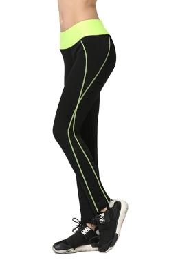Womens Color Block High Elastic Yoga Jogging Tight Leggings Yellow