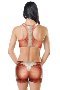 Womens U Neck Sleeveless Muscle Digital Print Sports Suit Khaki