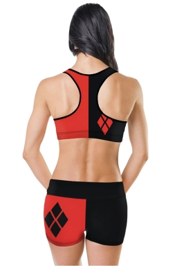 Womens U Neck Sleeveless Geometric Digital Print Sports Suit Red