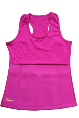 Womens Slimming Neoprene H Back Tank Corset Rose Red
