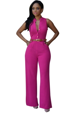 Womens Elegant Sleeveless Belted Wide Leg Jumpsuit Rose Red