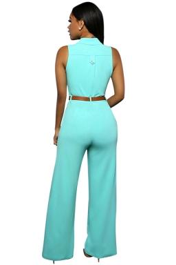 Womens Elegant Sleeveless Belted Wide Leg Jumpsuit Turquoise