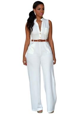 Womens Elegant Sleeveless Belted Wide Leg Jumpsuit White