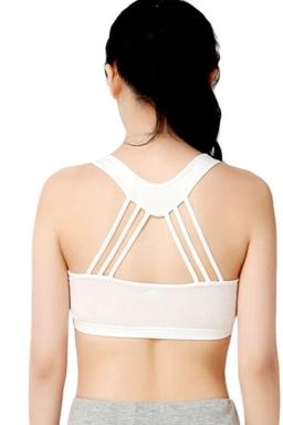 Womens Plain Round Neck Bandage Sports Bra White