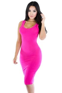 Womens Sexy Plain Bodycon Midi Tank Dress Rose Red