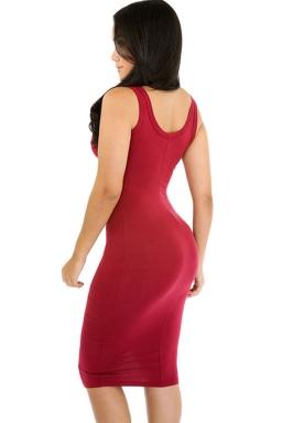 Womens Sexy Plain Bodycon Midi Tank Dress Ruby