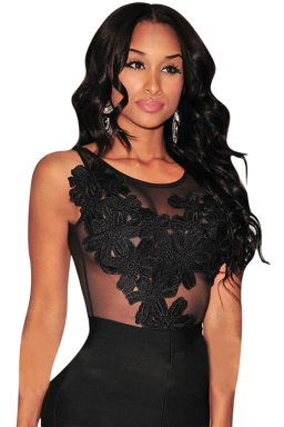 Womens Sexy Floral Embroidered Sheer Mesh Bodysuit Black