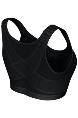 Womens Sexy Plain Buckled Front Tank Sports Bra Black