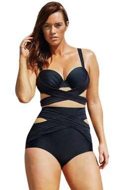 Womens Sexy Cross Bandage Top & High Waist Bottom Bikini Set Black