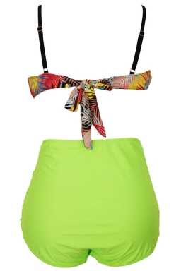 Womens Plus Size Bandeau Print Top&High Waist Bottom Bikini Set Green