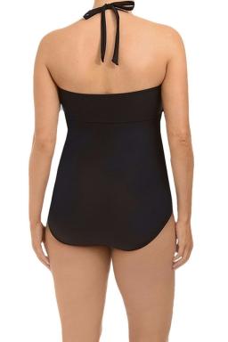 Womens Plus Size Halter Side Cut Out Plain Monokini Black
