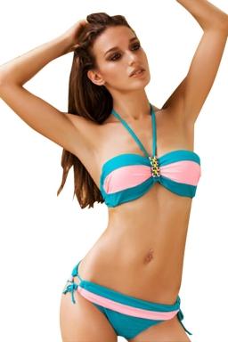 Womens Color Block Bandeau Top&Double-string Bottom Bikini Set Blue
