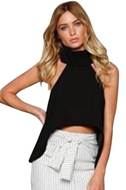 Womens Sexy Plain High Collar Irregular Hem Sleeveless Top Black