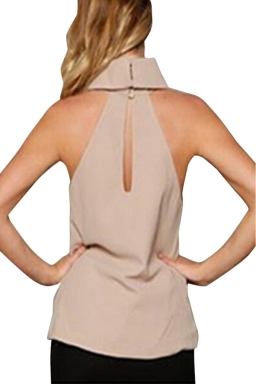 Womens Sexy Plain High Collar Irregular Hem Sleeveless Top Khaki
