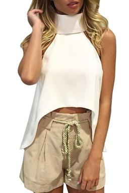 Womens Sexy Plain High Collar Irregular Hem Sleeveless Top White