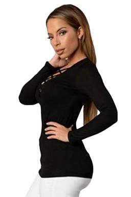Womens Sexy Lace Up Front Long Sleeve Plain Tee Shirt Black