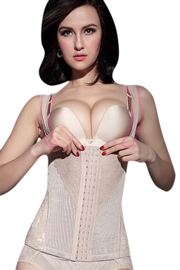 Womens Sexy Lace Patchwork Buckle Front Corset with Straps Beige