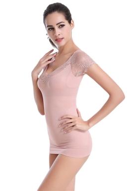 Womens Sexy Lace Patchwork Body Shaper Corset Khaki