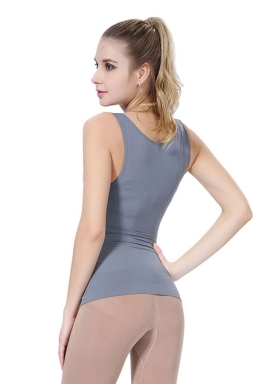 Womens Sexy Lace Patchwork Sleeveless Body Shaper Corset Light Gray