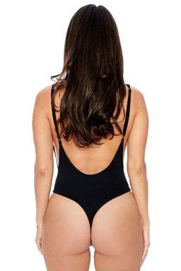 Womens Sexy Bodycon Plain Backless Bodysuit Black