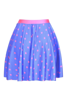 Womens Sexy Square Dot Printed Pleated Mini Skirt Blue