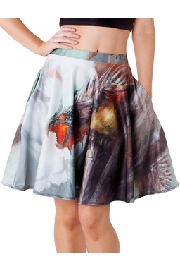 Womens Sexy Tyrannosaurus Printed Pleated Mini Skirt Light Gray