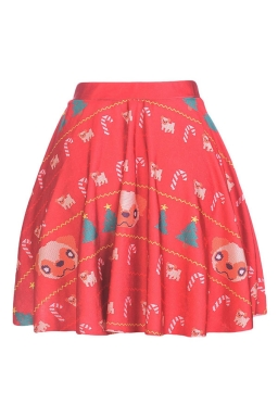 Womens Sexy Dog Printed Pleated Mini Skirt Red