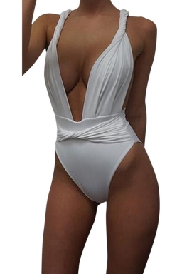 Womens Sexy Twisted Rope Bandage Plain Monokini White