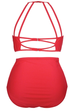 Womens Sexy Plus Size Mesh Insert Top&High Waist Bottom Bikini Set Red
