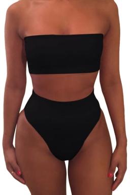 Womens Sexy Plain Bandeau Top&High Waist Bottom Bikini Set Black